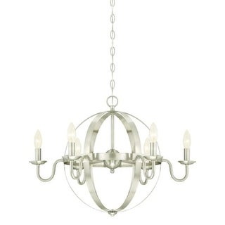 """Westinghouse 6303100 Brixton 6 Light 25"""" Wide Single Tier Candle Style Chandelier - Grey"""