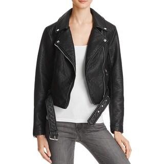 Eleven Paris Womens Motorcycle Jacket Faux Leather Asymmetrical
