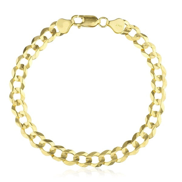 Mcs Jewelry Inc 14 KARAT YELLOW GOLD SOLID CLASSIC CUBAN CURB LINK BRACELET (8.5 INCHES)