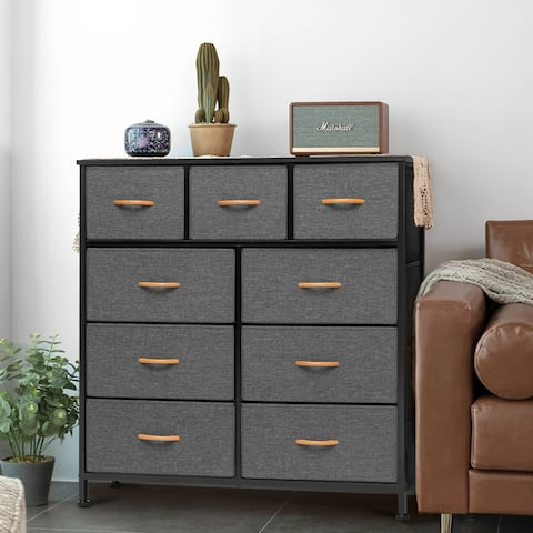 Home Extra Wide Closet Dresser Storage Tower Organizer Unit 9 Drawers