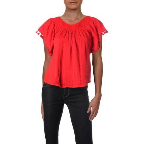 Aqua Womens Pullover Top Tassel Butterfly Sleeves