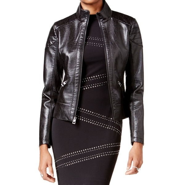 28e13a02f Guess NEW Black Womens Size XS Faux Leather Full Zip Motorcycle Jacket