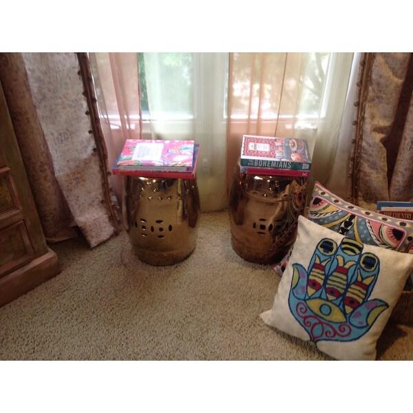 Safavieh Paradise Treasures Gold Ceramic Garden Stool   Free Shipping Today    Overstock.com   15132308