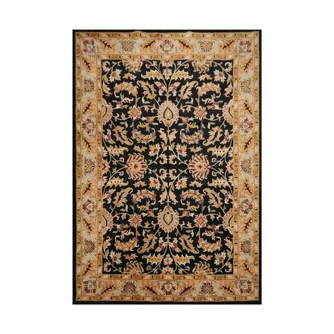 Hand Tufted Oushak Black Persian Wool Traditional Oriental Rug(10x14) - 10' x 14'