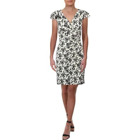 Lauren Ralph Lauren Womens Petites Party Dress Floral Print Mini - Cream