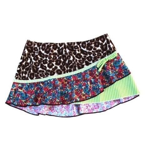Azul Little Girls Blue Green Mixed Print Wild At Heart Swimwear Skirt