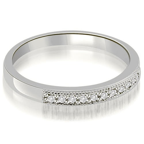 0.20 cttw. 14K White Gold Classic Milgrain Round Cut Diamond Wedding Band