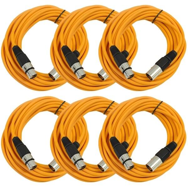SEISMIC AUDIO (6 PACK) Orange 25' XLR Microphone Cables
