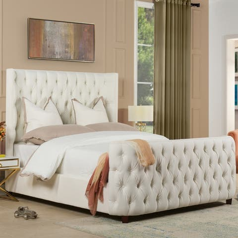 Silver Orchid Luts Luxury Hand Button-tufted Curved Platform Bed