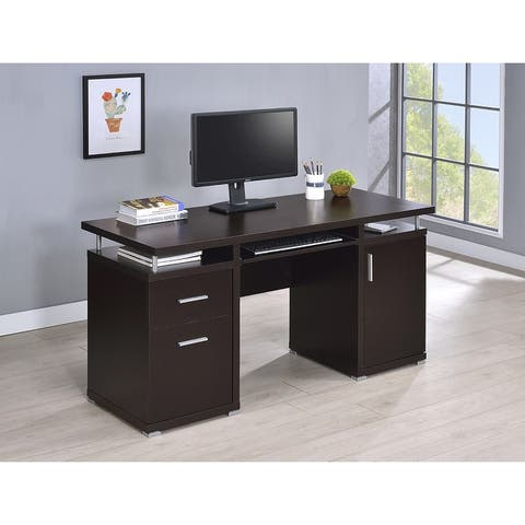 Rochelle Computer Desk with 2 Drawers and Cabinet
