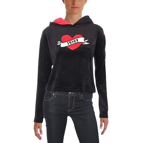 Juicy Couture Black Label Womens Valentine Sweatshirt Velour Graphic