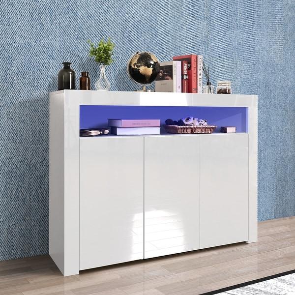 TiramisuBest Living Room Sideboard Storage Cabinet with LED Light