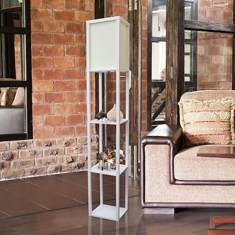 Simple Designs Floor Lamp Etagere Organizer Storage Shelf