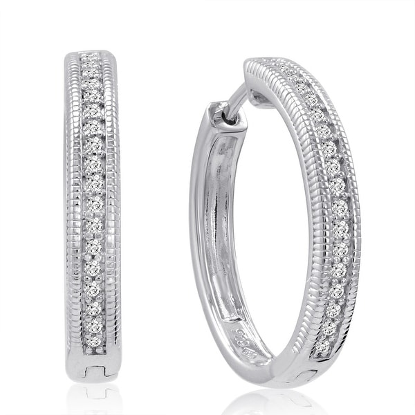 Amanda Rose AGS Certified 1/4ct tw Diamond Hoop Earrings set in .925 Sterling Silver