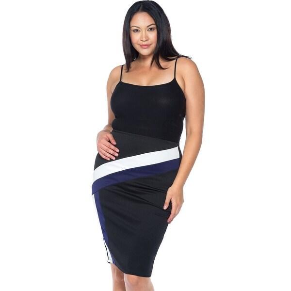 a1d03aa48c Ladies Fashion Plus Size Black Blue White Color Block Pencil Midi Skirt -  Size - 3Xl