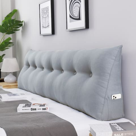 WOWMAX Bed Rest Wedge Bolster Pillow Decorative Gray Lumbar Pillow