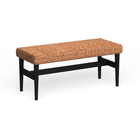 The Curated Nomad Terraza Black Natural Woven Bench