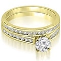 1.17 cttw. 14K Yellow Gold Cathedral Channel Set Round Cut Diamond Bridal Set - Thumbnail 0