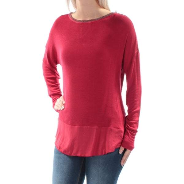 fd7a8328dbe977 Shop SANCTUARY Womens Red Embellished Long Sleeve Jewel Neck Top Size: S -  On Sale - Free Shipping On Orders Over $45 - Overstock - 22430749