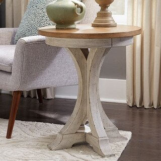 Link to Farmhouse Reimagined Antique White Round Chair Side Table Similar Items in Living Room Furniture