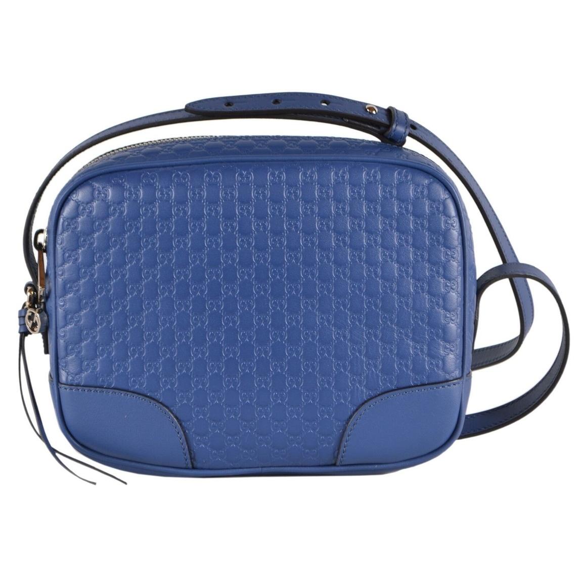 Shop Gucci Caspian Blue Leather Micro Gg Guccissima Bree Crossbody Camera Bag On Sale Overstock 30587514