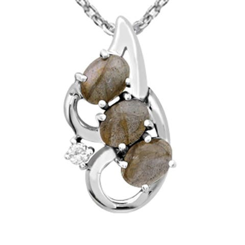 Labradorite,Moonstone Sterling Silver Oval Chain Pendant by Orchid Jewelry