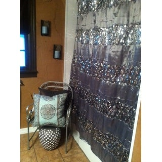 Shop Luxury Shower Curtain And Hooks Set Or Separates   Free Shipping On  Orders Over $45   Overstock.com   10123657