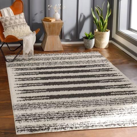 Georges Scandinavian Stripe Plush Area Rug