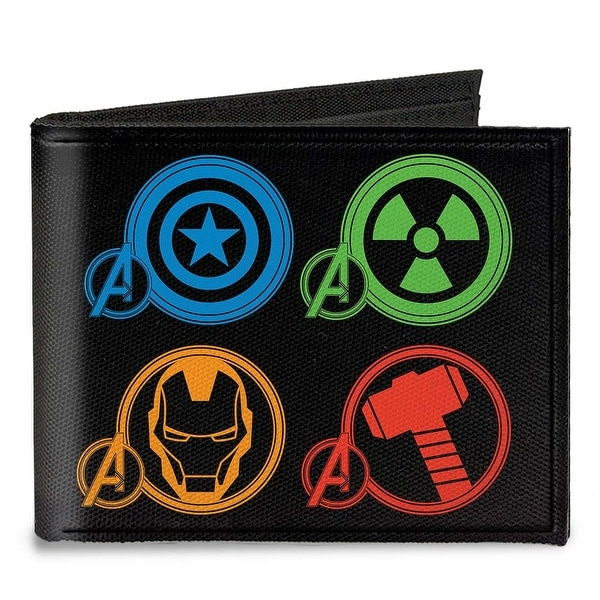 Marvel Avengers Superhero Logos Black Multi Color Canvas Bi Fold Wallet One Size - One Size Fits most