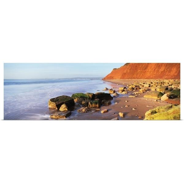"""Rocks at the seaside, Sandy Bay, Exmouth, Devon, England"" Poster Print"