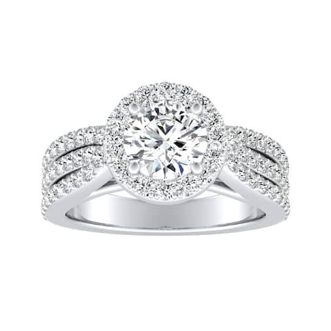 Auriya 14k Gold Triple Band Round Halo Diamond Engagement Ring 1 1/3ctw