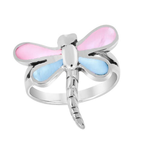 Handmade Mystical Dragonfly Blue-Pink Mother of Pearl Wings .925 Sterling Silver Ring (Thailand)