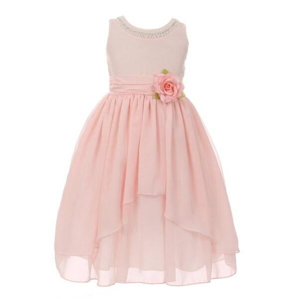 aad947172022c Shop Kiki Kids Girls Blush Pink Chiffon Beaded Neckline Flower Girl Dress -  Free Shipping On Orders Over $45 - Overstock - 18168635