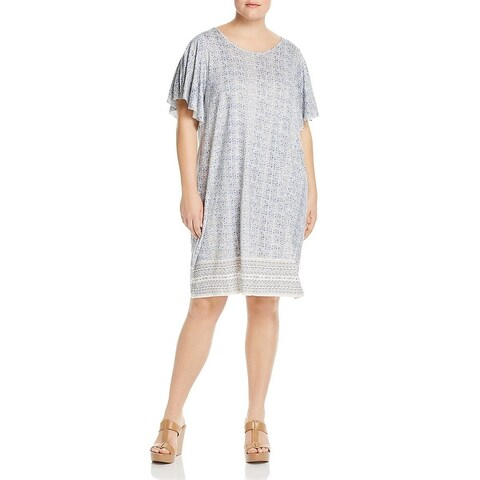 Lucky Brand Womens Plus T-Shirt Dress Ruffle Sleeves Printed