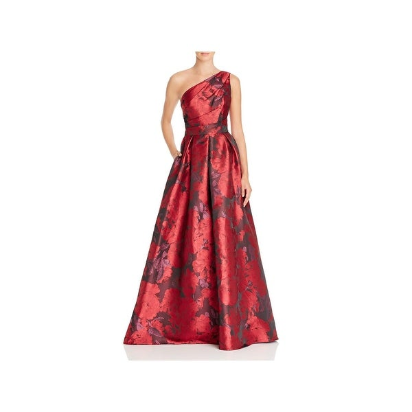 Shop Carmen Marc Valvo Womens Evening Dress One Shoulder Floral ...