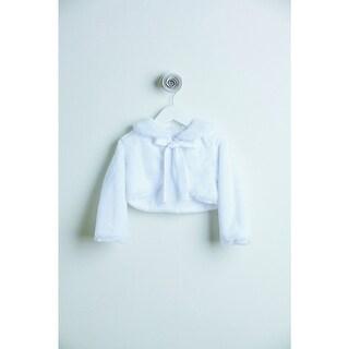 Little Girls White Faux Fur Ribbon Long Sleeve Occasion Jacket 6