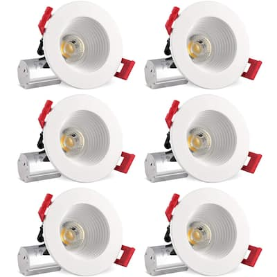Luxrite 2 Inch LED Recessed Light with J-Box, 8W (50W Equiv), 600 Lumens, Dimmable, Regressed, Energy Star, IC (6 Pack)