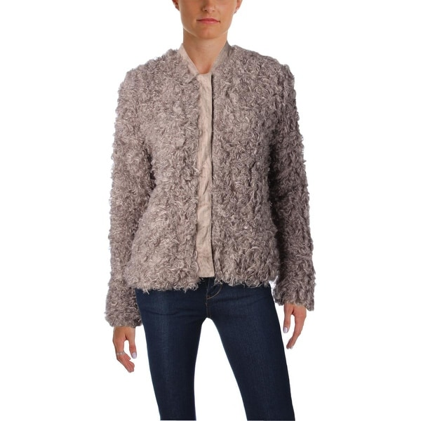 523f44f38 Guess Womens Bomber Jacket Faux Fur Long Sleeves - m