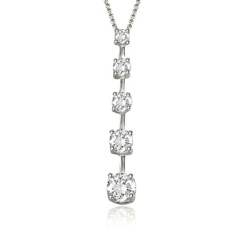 1.00 cttw. 14K White Gold Round Cut Diamond Five-Stone Journey Pendant