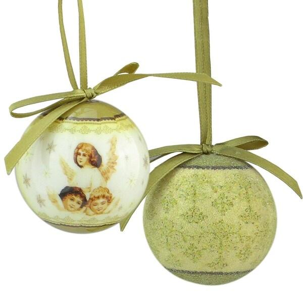 "12-Piece Angel Decoupage Shatterproof Christmas Ball Ornament Set 1.75"" - brown"