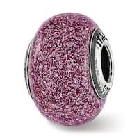Italian Sterling Silver Reflections Pink Glitter Glass Bead (4.5mm Diameter Hole)