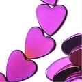 Hematite Gemstone Beads, 8mm Heart, 16 Inch Strand, Metallic Purple - Thumbnail 0