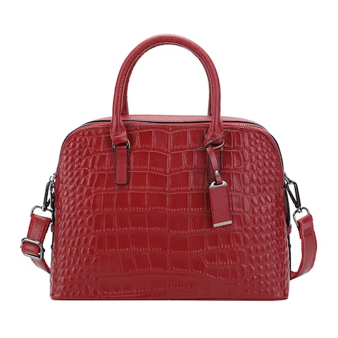 Hong Kong Closeout Collection Embossed Pattern Genuine Leather Tote - 12.6x5.9x9.05 inches