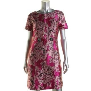 Adrianna Papell Womens Petites Metallic Jacquard Wear to Work Dress