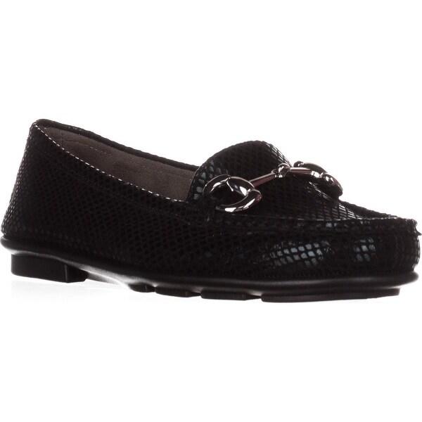 Aerosoles Nuwsworthy Metal Buckle Loafers, Black Snake - 6 us