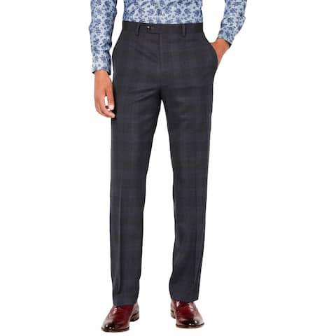Sean John Mens Dress Pants Plaid Stretch - Grey/Blue