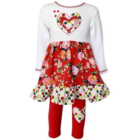 AnnLoren Girls Valentine's Day Red Polka Dot & Heart Floral Dress Leggings Set