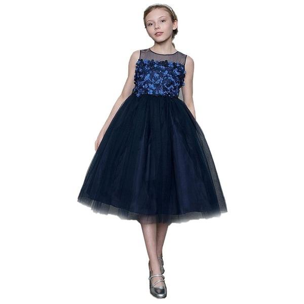 ab67aba6b Shop Girls Navy 3D Flowers Bow Illusion Neck Junior Bridesmaid Dress ...
