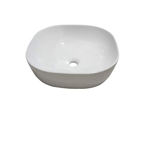 16 x 16 in. Square White Finish Ceramic Bathroom Vessel Sink