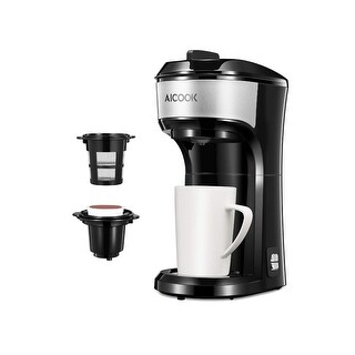Single Serve Coffee Maker, AICOOK Coffee Machine for K-cup pods, Coffee Ground and Coffee Capsules